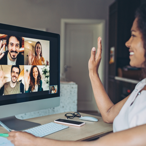 Group of individuals participating in a videoconference